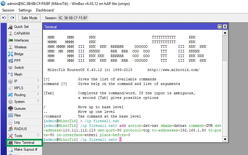 FreeG WiFi | Port forwarding on a MikroTik router for DVR/CCTV